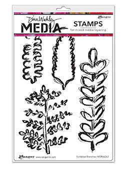 Dina Wakley Media Stamp Scribbled Branches Stamps Dina Wakley Media