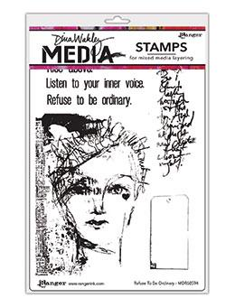 Dina Wakley Media Stamp Refuse to be Ordinary Stamps Dina Wakley Media