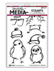 Dina Wakley Media Stamp Scribbly Holiday Birdie 2 Stamps Dina Wakley Media