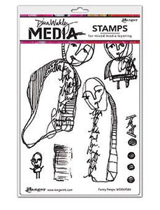 Dina Wakley Media Stamp Funny Peeps Stamps Dina Wakley Media