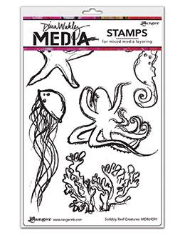 Dina Wakley Media Stamp Scribbly Reef Creatures Stamps Dina Wakley Media