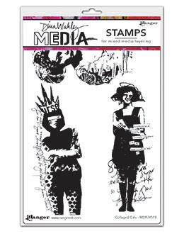 Dina Wakley Media Stamp Collaged Girls Stamps Dina Wakley Media