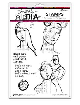 Dina Wakley Media Stamp Ledger Girls Stamps Dina Wakley Media