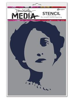 Dina Wakley Media Stencils Stenciled Queenie