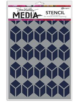 Dina Wakley Media Stencils Stacked Squares Stencil Dina Wakley Media