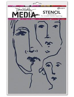 Dina Wakley Media Stencils Scribbled Faces Stencil Dina Wakley Media