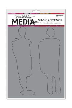 NEW! Dina Wakley Media Stencils + Mask Giant Funky Silhouettes