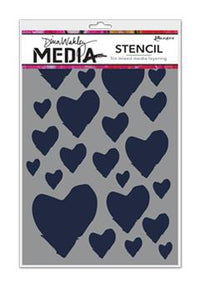 Dina Wakley Media Stencil The Best Hearts