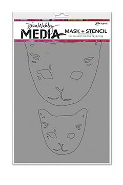 NEW! Dina Wakley Media Stencils Cat Head Masks