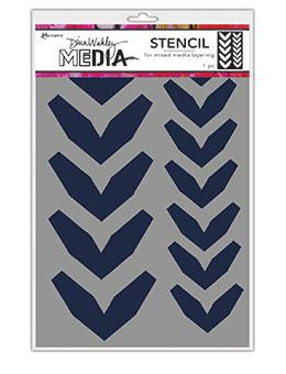 Dina Wakley Media Stencils Large Fractured Chevrons Stencil Dina Wakley Media