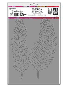Dina Wakley Media Curly Frond Masks Stencil Dina Wakley Media