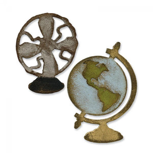 Tim Holtz® Alterations by Sizzix Movers & Shapers™ Magnetic Dies - Vintage Fan/Globe Set Cutting Dies Tim Holtz Other