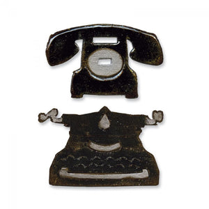 Tim Holtz® Alterations by Sizzix Movers & Shapers™ Magnetic Dies - Vintage Telephone/Typewriter Cutting Dies Tim Holtz Other