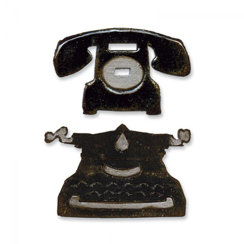 Tim Holtz® Alterations by Sizzix Movers & Shapers™ Magnetic Dies - Vintage Telephone/Typewriter
