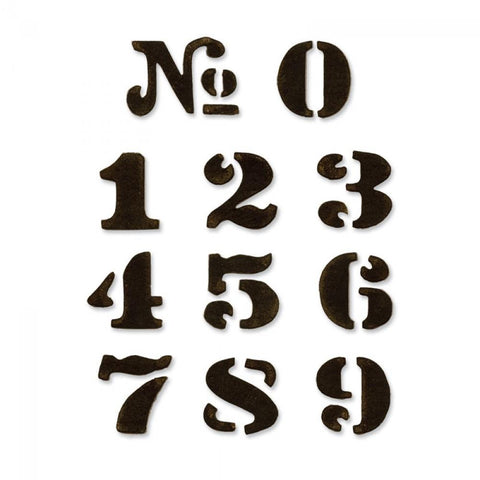 Tim Holtz® Alterations by Sizzix Movers & Shapers™ Magnetic Dies - Cargo Stencil Numbers, 11pk