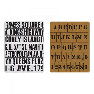 Tim Holtz® Sizzix Texture Fades™ - Subway & Stencil Set, 2pc Sizzix Tim Holtz Other