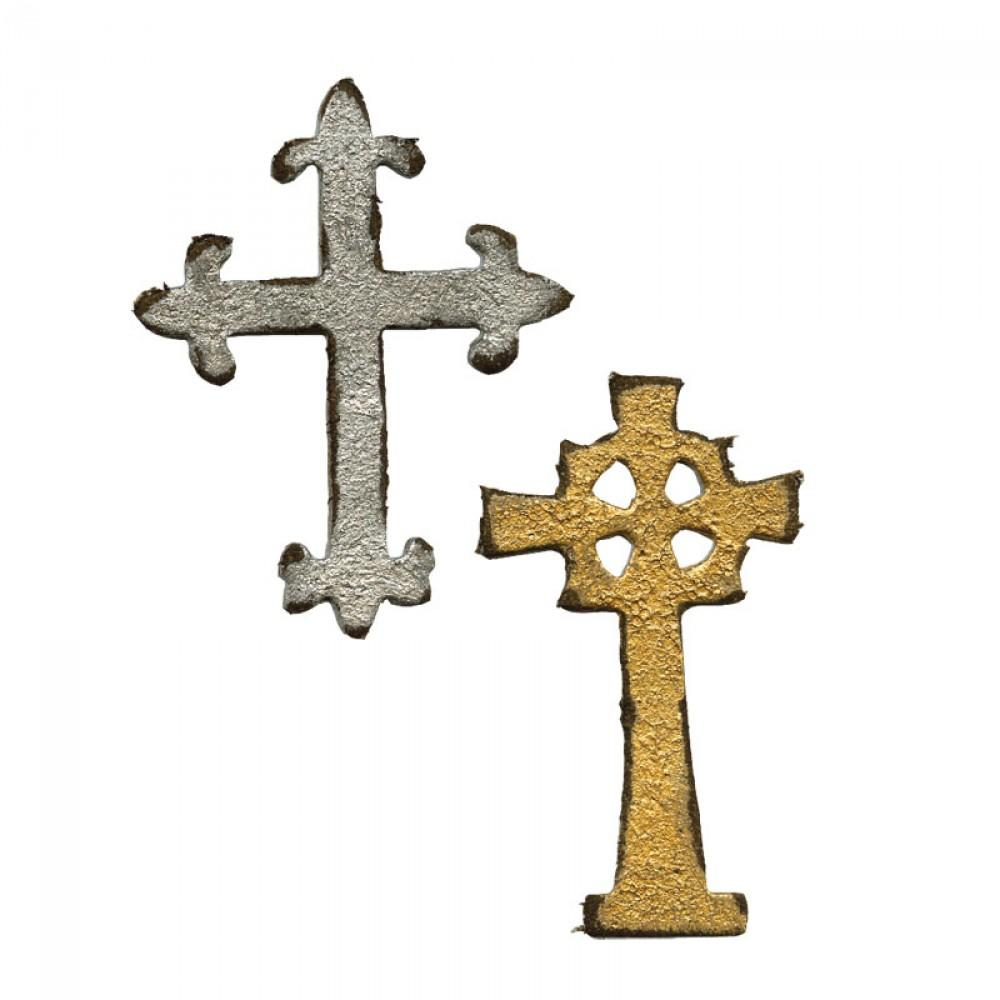 Tim Holtz® Alterations by Sizzix Movers & Shapers™ Magnetic Dies - Mini Ornate Crosses Cutting Dies Tim Holtz Other