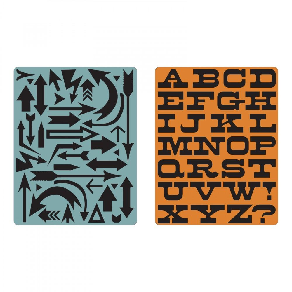 Tim Holtz® Sizzix Texture Fades™ - Arrows & Boardwalk Set, 2pc