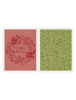 Tim Holtz® Sizzix Texture Fades™ - Greetings & Green Set, 2pk Sizzix Tim Holtz Other