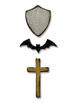 Tim Holtz® Alterations by Sizzix Movers & Shapers™ Dies - Tiny Bat, Cross, & Shield Cutting Dies Tim Holtz Other