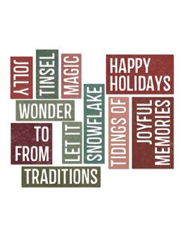 Tim Holtz® Alterations by Sizzix Thinlits™ Dies - Holiday Words - Block, 16pk