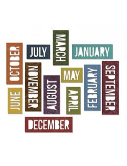 Tim Holtz® Alterations by Sizzix Thinlits™ Dies - Calendar Words Block, 12pk Cutting Dies Tim Holtz Other