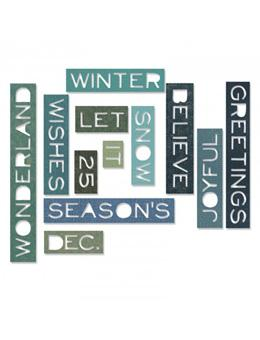 Tim Holtz® Alterations by Sizzix Thinlits™ Dies - Holiday Words - Thin, 12pk Cutting Dies Tim Holtz Other