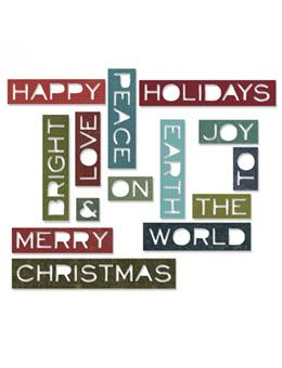 Tim Holtz® Alterations by Sizzix Thinlits™ Dies - Holiday Words - Thin 2, 14pk