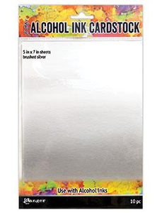 Tim Holtz® Alcohol Ink Cardstock Brushed Silver, 10pc SURFACES Tim Holtz