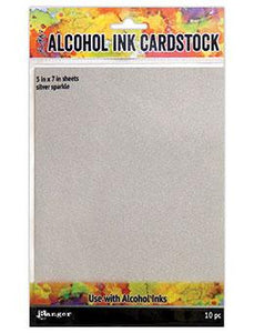 NEW! Tim Holtz® Alcohol Ink Cardstock Silver Sparkle, 10pc
