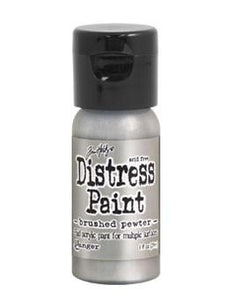 Tim Holtz Distress® Flip Top Paint Brushed Pewter, 1oz