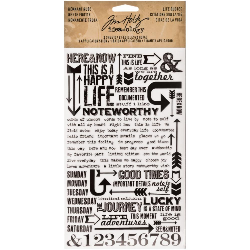 Tim Holtz® Idea-ology Paperie - Remnant Rubs - Life Quotes Idea-ology Tim Holtz Other