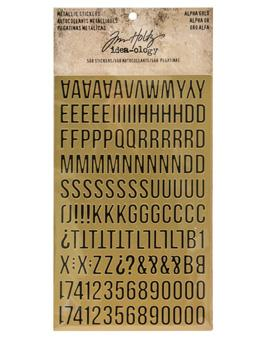 Tim Holtz® Idea-ology Paperie - Metallic Stickers - Alpha Gold Idea-ology Tim Holtz Other