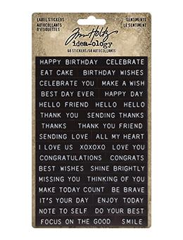 Tim Holtz Idea-ology Label Stickers Sentiments Idea-ology Tim Holtz Other