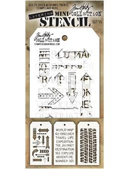 Tim Holtz® Stampers Anonymous - Mini Layering Stencils - Set #15 Stencil Tim Holtz Other