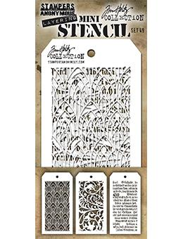 Tim Holtz Mini Layering Stencil Set #49 Stampers Anonymous Tim Holtz Other