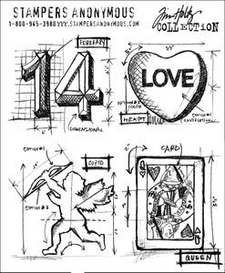 Tim Holtz® Stampers Anonymous Cling Stamps Valentine Blueprints Stamps Tim Holtz Other