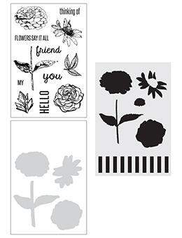 NEW! Wendy Vecchi Stamp, Die & Stencil Set - Flowers Say It All