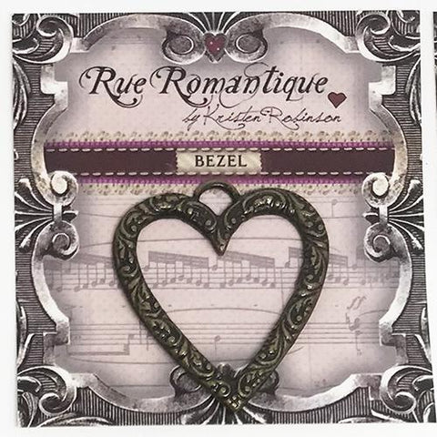 Rue Romantique Scroll Heart Bezel Antique Bronze, 1pc