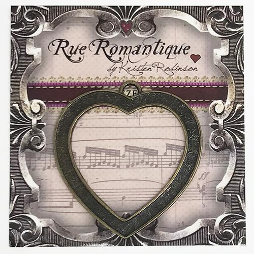 Rue Romantique Channel Heart Bezel Antique Bronze, 1pc