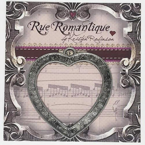 Rue Romantique Channel Heart Bezel Antique Silver 10pk