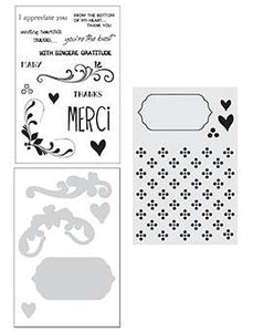 Wendy Vecchi Stamp, Die & Stencil Set - Merci & More Set Wendy Vecchi
