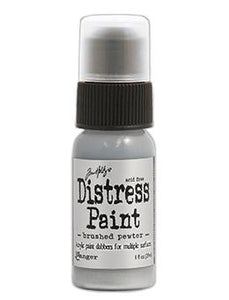 Tim Holtz Distress® Dabber Paint Brushed Pewter, 1oz Paint Tim Holtz