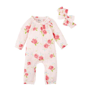 Mudpie- Stripe Rose Sleeper & Headband Set #11060178