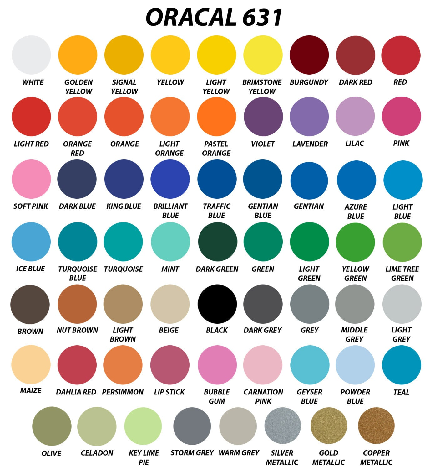 "Oracal 631 Adhesive Vinyl 12"" X 12"""