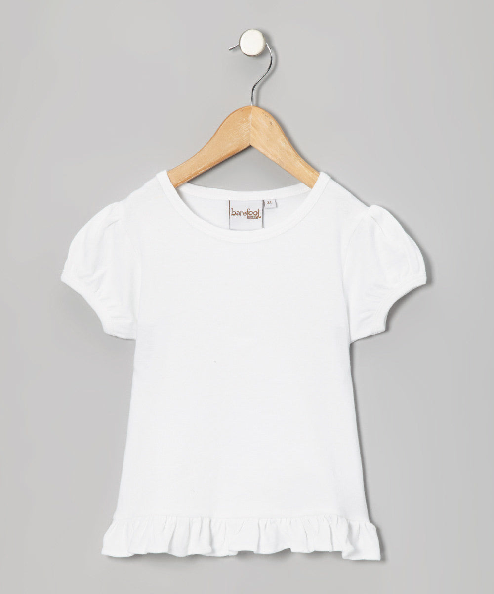Barefoot White Puff Short Sleeve Girls Shirt