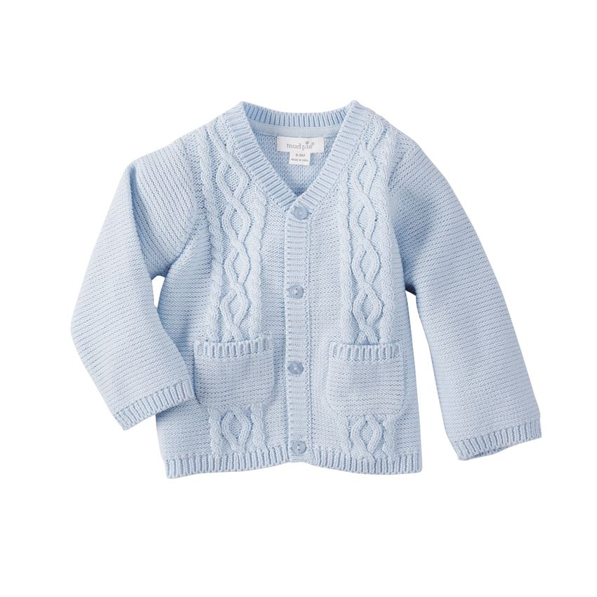 Mudpie- Blue Cable Knit Cotton Cardigan