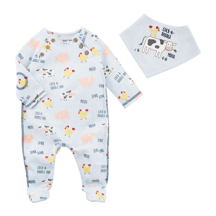 Mudpie- boy cow sleeper & bib set #11060170