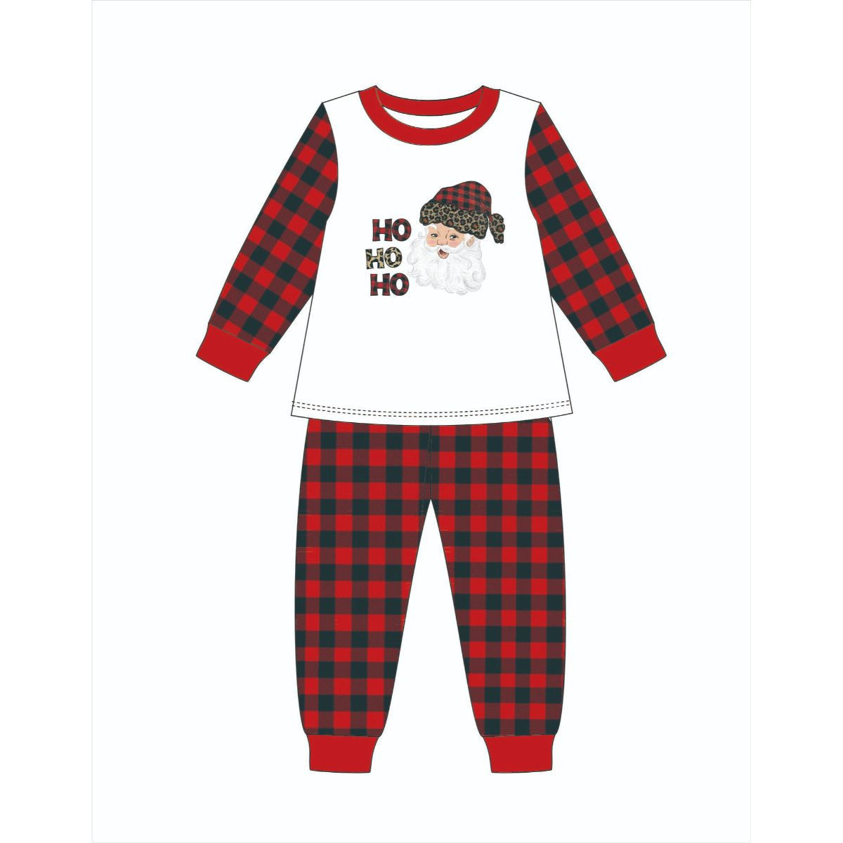 Jane Marie- Kids Leopard Santa Buffalo Plaid Jammie Set
