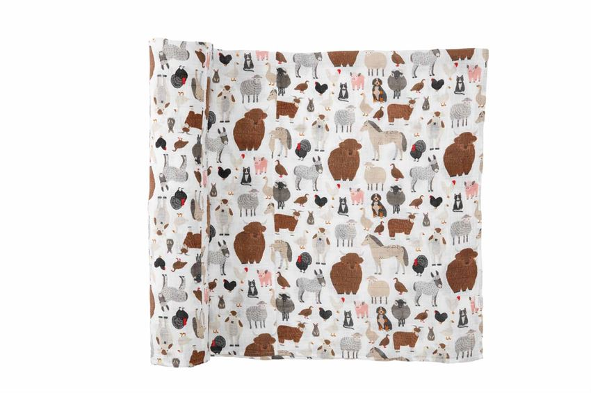 Mudpie- Fall Animals Muslin Swaddle